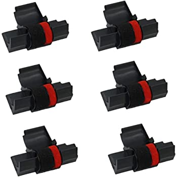 Printerfield IR-40T (6 Pack) Compatible Calculator Printer Ribbons Ink Roller - Black & Red