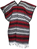 Del Mex Classic Mexican Blanket Poncho, Red