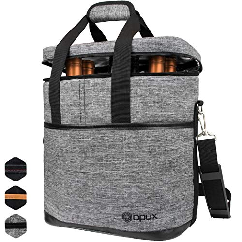 Premium Insulated 6 Bottle Wine Carrier Tote Bag | Wine Travel Bag with Shoulder Strap and Padded Protection | Wine Cooler Bag (Heather Gray)