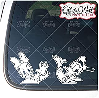 """Donald and Daisy Duck """"HELLO"""" Vinyl Car/Truck/Vehicle Decal Sticker *WHITE ONLY*"""