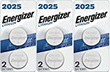 Energizer CR2025 Batteries, 3V Lithium Coin Cell 2025 Watch Battery, (6 Count)
