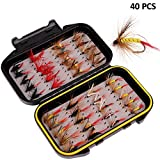 ALLOMN 40/72/100/120 PCS Fliegenfischen Trockenfliegen, Angelköder Fliegen Set Fliegenfischen Köder Sortiment 5 Verschiedene Fliegen, mit Wasserdichter Box (40 PCS)