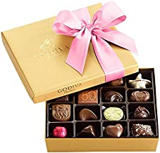 Godiva Chocolatier Assorted Chocolate Gold Gift Box, Pink Ribbon, Gourmet Chocolate, Gourmet Chocolates, Gifts for Her, Gifts for Women, 19 pc