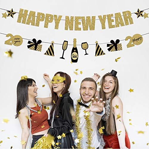 JoyTplay Happy New Year 2020 Banner-slinger, 2 stuks, zwart en goud