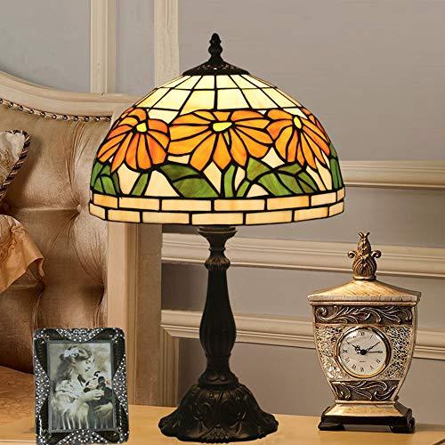 Yilingqi-1 12 Pulgadas Retro Margaritas Amarillas Hecha a Mano Lámpara de Mesa Tiffany lámpara del Dormitorio de la lámpara de mesita de Noche de la Vendimia Escritorio de Cristal,Dtl0325
