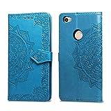Bear Village Hülle für Xiaomi Redmi Note 5A, PU Lederhülle Handyhülle für Xiaomi Redmi Note 5A, Brieftasche Kratzfestes Magnet Handytasche mit Kartenfach, Blau