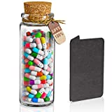 ✅ The best gift: 1 cool glass bottle, 100 pcs lovely and creative pill capsules, a greeting card. No information on the paper. ✅There is a blank piece of colored paper in each pill and you can write down whatever you want to say. If you have a lot of...