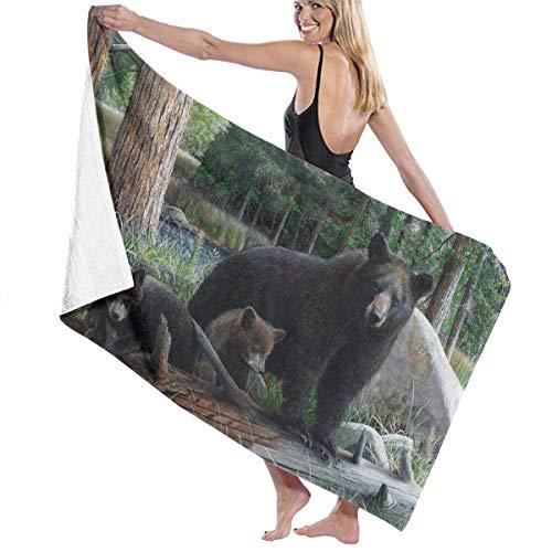 Olie Cam Black Bear Mamá y bebé Toallas de Playa Toallas de Ducha de baño súper absorbentes de Microfibra para Acampar en la Piscina para Mujeres Hombres