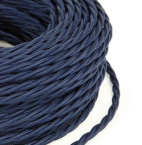 Cable eléctrico trenzado de 3 m de estilo vintage revestido de tela de color azul oscuro Abiso sección 3 x 0,75 para lámparas de araña, lámparas de mesa, diseño fabricado en Italia