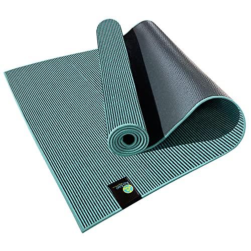 Kulae 5mm Elite Hybrid Hot Yoga Mat/Towel Combo - Eco-Friendly, Recyclable, Non-Slip, 72' x 24' (Sea Blue)