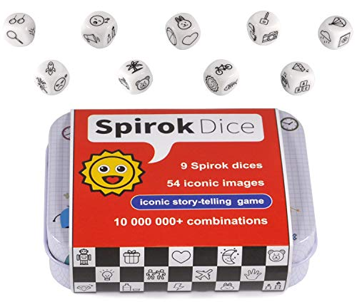 Spirok Story Telling Dice  9 Cubes 54 Images with Storage Bag  for Infinite Storytelling