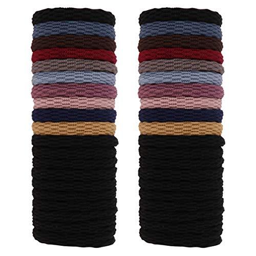 Pixnor 2 Box 40 stuks katoen stretch haarelastiekjes naadloze zeer elastische eenvoudige haarbanden touw paardenstaarthouder hoofdband voor dik zwaar golvend krullend haar (kleur) 5X5X1CM Zwarte kleur.