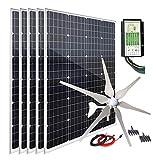 1000W 12V Wind Turbine Generator Solar Panel Kit : 400W Windmill & 5pcs 120W Mono Solar Panel & Hybrid Charge Controller for Home...