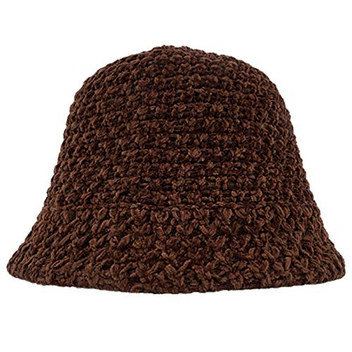 Autunno Inverno Hollow Bilancio Traspirante Berretto, Cappello a Secchiello Warmer Wool Blend Blend Blend Blend Color Hat,Marrone