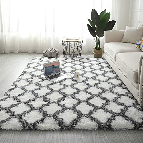 Lurowo - Alfombra de piel sintética, muy suave y mullida con modelo marroquí, alfombra de decoración interior antideslizante para salón o dormitorio (120 x 160 cm)