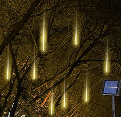 Solar Falling Rain Lights, 8 Tubes Meteor Shower Lights, Romantic Snow Fall 144 LED Icicle Lights for Christmas Tree, Party, Holiday, Garden Decoration (Warm White)