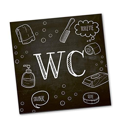 Logbuch-Verlag Señal para inodoro con diseño de pizarra, color blanco y negro, cuadrado, 14 x 14 cm, incluye puntos adhesivos