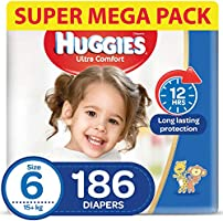 HUGGIES Ultra Comfort Diapers, Size 6, Jumbo Pack, 15+ kg, 186 Diapers