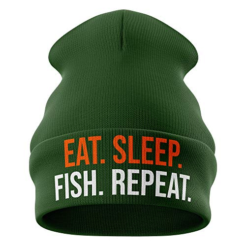 Purple Print House Fishing Gifts for Men, Eat Sleep Fish Repeat Funny Beanie Hat, Dad Grandad Novelty Winter Cold Bait Angling Carp, Bottle Green, One Size