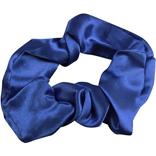 satiné Chouchou Bleu Cheveux cravates Queue de cheval support