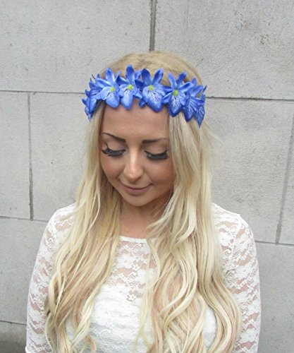 Blue Cattleya Orchid Flower Garland Headband Hair Crown Boho Hawaiian Beach 2194 *EXCLUSIVELY SOLD BY STARCROSSED BEAUTY*