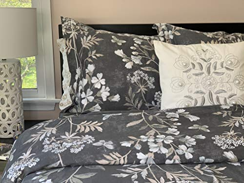 TAHARI Home King Duvet Cover Set Vintage Botanical Garden Butterflies Flower Print Cotton Sateen Bedding Gray Taupe White