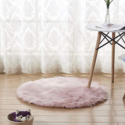 DDELLK Vloerkleed schapenvacht, ronde shag, warme kunstwol, vacht, stoelovertrek, mat Hairy Shaggy Carpet Seat, textielbereik, speelhuisje, slaapkamer, 45 cm 45 cm roze/45 cm
