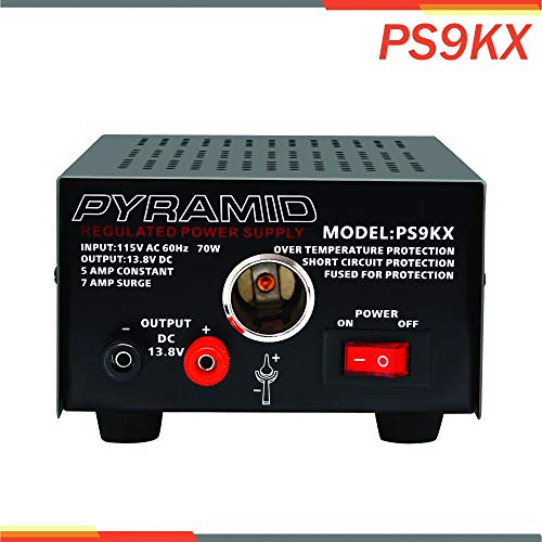 Pyramid PS9KX Universal Compact Bench Power Supply-5 Amp Linear Regulated Home Lab Benchtop Converter w/ 13.8 Volt DC 115V AC 70 Watt Input, Screw Type Terminal, 12V Car Cigarette Lighter