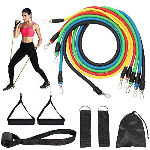 Oefenweerstandsbanden set, 11-delige fitness-stretchbandjes met fitnessbuizen, schuimrubberen handvatten, enkelriempjes, deuranker, thuistraining Fitnessapparatuur voor heren Dames Training