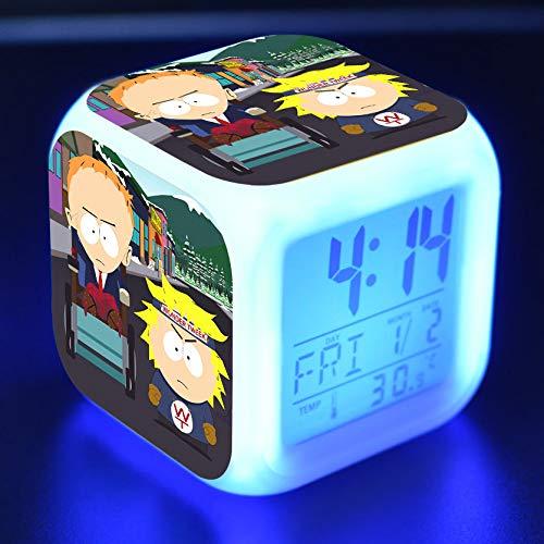 Zhuhuimin Kinder wekker LED licht 7 kleuren veranderende LED display wekker vierkant tafel vierkant digitaal Retro