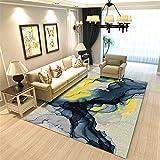 La Alfombra alfombras Oficina La Alfombra de la Sala de Estar de la Pintura al óleo Abstracta Amarilla Azul no se desvanece la Alfombra Alfombra Pelo Corto alfombras Lavables 200*250cm