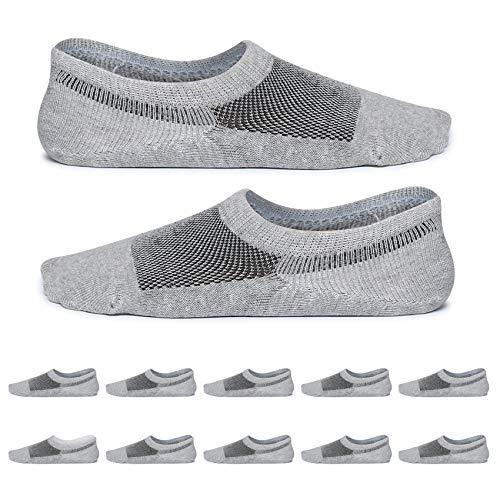 YouShow Sneakers Sokken Mannen Vrouwen 47-50 Laarzen 10 paar Footies Onzichtbare Korte No Show Sokken Grote Siliconen plaat Antislip Grijs