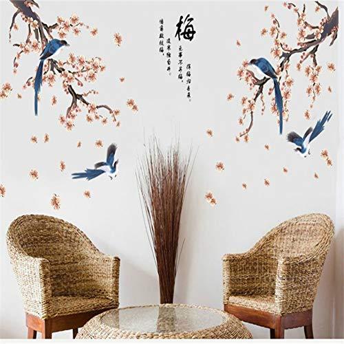MWLSW Sticker Mural Plum Blossom Lucky Birds Sticker Mural pour Chambre Décoration de la Maison Fond Arrière Plan Mural Porte DIY Mur Affiche