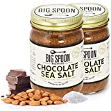 Big Spoon Roasters Dark Chocolate Almond Butter With Sea Salt & Raw Honey - Raw Honey Almond Butter - Crunchy Almond Butter w/ Bee-Friendly Almonds - Keto, Gourmet, Pure Almond Nut Butter - 26 Ounces