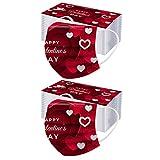 100 Piezas Estilo de Tema de San Valentín Adultos Desechables mαsks Moda Multicolor Adulto_Mascarilla, Transpirable y Confortable Bufanda Diferentes Impresos