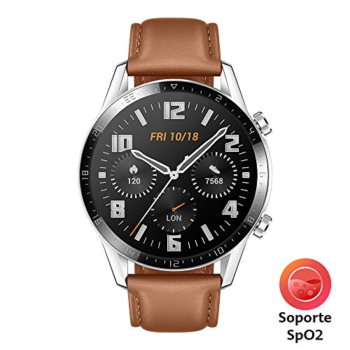 HUAWEI Watch GT 2 – Reloj Inteligente, 46mm, 3D Glass Screen, Bluetooth, Café
