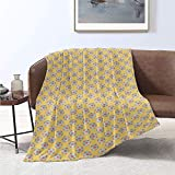 Jecycleus Soccer, Weave Pattern Extra Long Blanket, Geometric Hexagon Shapes Football Theme Simple Design on Yellow, Velvet Plush Throw Blanket 90x70 Inch Pale Green Mustard and Coral