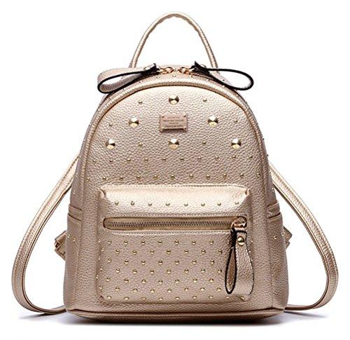 HoneymallDamen luxuriös PU Leder Rucksack Schulrucksack schöne kleine Tasche neue Mode rund einzigartig Design Niet PU-Leder mit Nieten(Godlen)