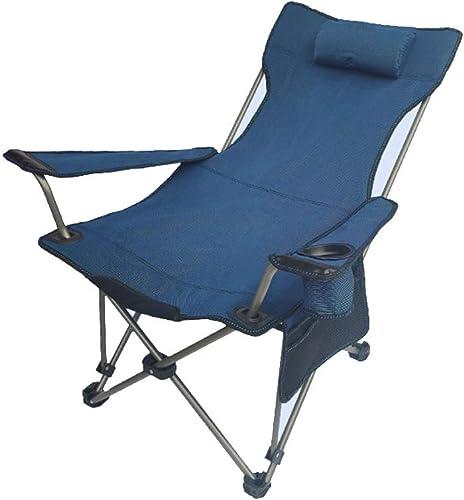 LVJING Chaise de Camping Chaise de Camping Pliante légère Chaise de pêche Chaise compacte d'extérieur Sac de Transport et de Transport Haut Adapté aux Pique-niques Pêche Randonnée (Couleur   bleu)