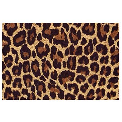 Felpudo Exterior, de Goma Forma Base Antideslizante,decoración Suave y Lisa, Felpudo de Entrada para Recibidor,Pasillo, Cocina, Dormitorio,40X60X0.7cm-Estampado de Leopardo
