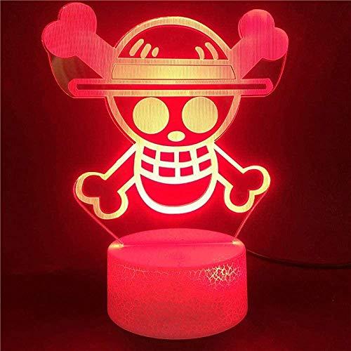 Dalovy Festival 3D Lámpara de Ilusión Luz de Noche Led Anime One Piece Niños Sensor Táctil Colorido para Regalos de Chico Decoración de Dormitorio Lámpara de Mesa