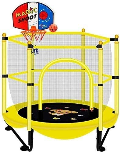 LERSS Indoor Bouncing Bed, Silent Home Children's Trampoline with Safety net, Load-Bearing 250kg / Diameter 150cm, Best Gift for Children's Birthday (Color : 1.5m with Basketball Stand)