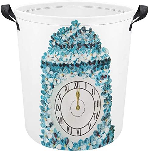 Cesta de ropa con patrón de reloj elegante impermeable, tela Oxford duradera, plegable para el dormitorio, cestas de regalo, baño, organizador de juguetes universitarios, estilo blanco7