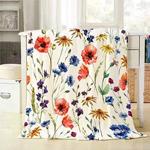 Mugod Wildflowers Throw Blanket Colorful Watercolor Flowers Poppy Cornflower and Chamomile Decorative Soft Warm Cozy Flannel Plush Throws Blankets for Baby Toddler Dog Cat 30 X 40 Inch