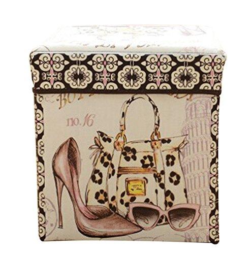 Moorui Faltbarer Sitzhocker Aufbewahrungsbox Kisten mit Deckel Aufbewahrungskisten Hocker Würfel High Heels 31 * 31 * 31 cm