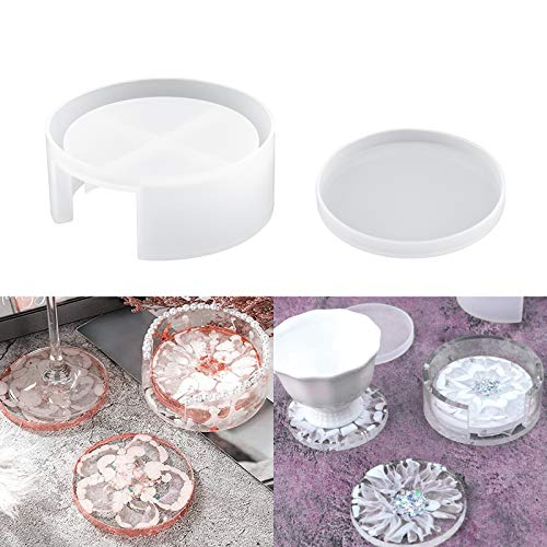 Stampo per sottobicchieri in Resina,HONEYWHALE 2 Pz Silicone Sottobicchiere Mat Storage Holder Set, Epoxy Mould Craft DIY per Fare tappetini per Tazze Crystal Round Coaster Resin Box Bowl Mat Slices