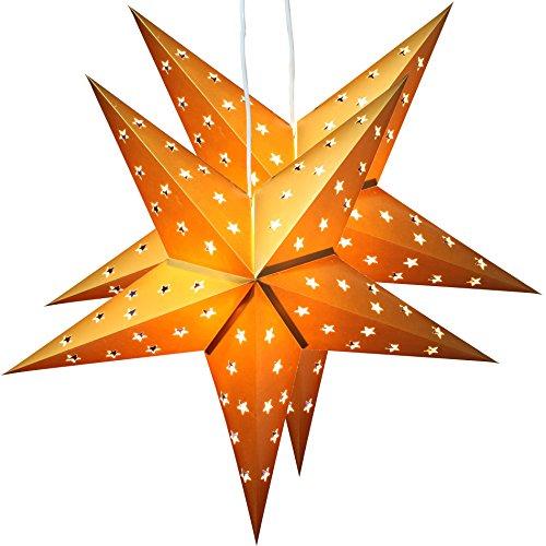 2er Pack BRUBAKER Falt Weihnachtssterne mit je 10 LED, 60 cm Ø, Gold