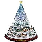 YuKeShop Decoraciones de Navidad pegatinas de ventana, árbol de Navidad brillante giratorio castillo escultura ciudad nevada pegatinas de pared, decoración del hogar suministros de fiesta