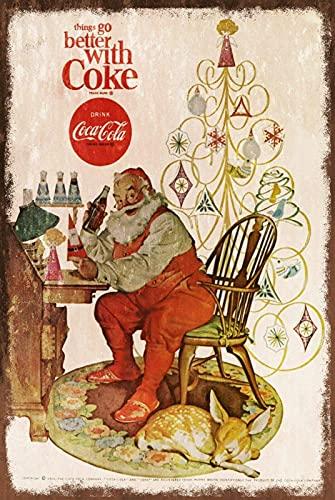 527 LOUPNY Metal Tin Sign Father Christmas Advert Vintage Style Metal Sign, Santa List Tree Wall Decoration 8x12 Inch