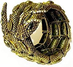 Bracelete Jormungandr Serpente Midgard Pedras Foscas Pulseira Cobra Viking Dourada + Pingente Chave - 8cm